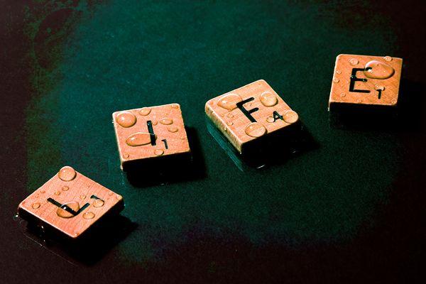 scrabble letters spells life