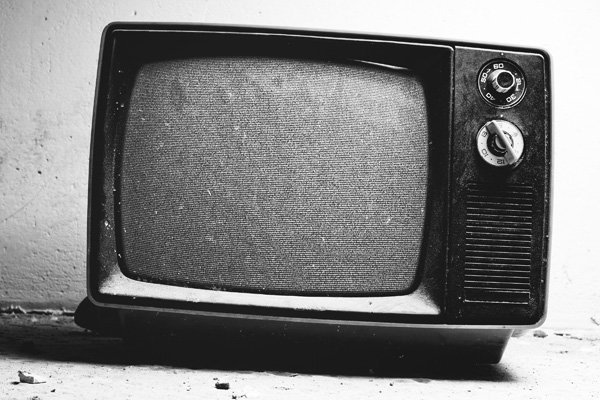 Black and white tv with white noise