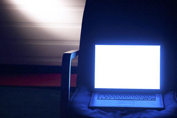 Bright LED computer light in dark room