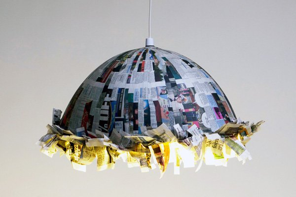 Reused newspaper to make paper lamp