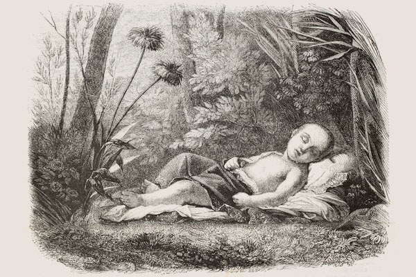 Dover illustration of sleeping baby