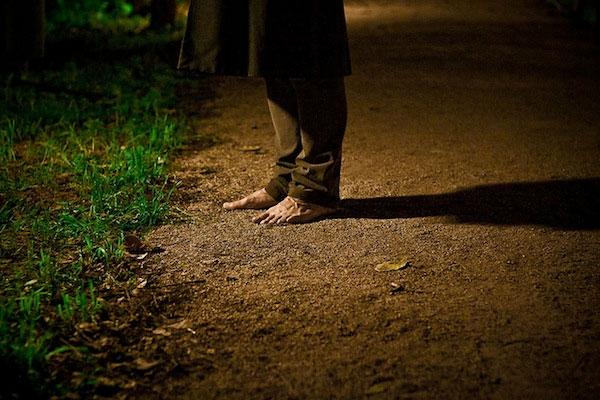 Sleepwalker standing outside