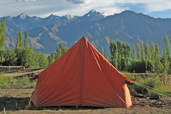 Red-orange tent