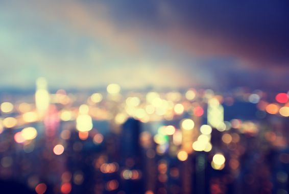 Cityscape of blurred bokeh lights