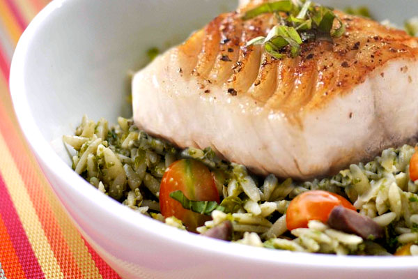 cod with orzo kale