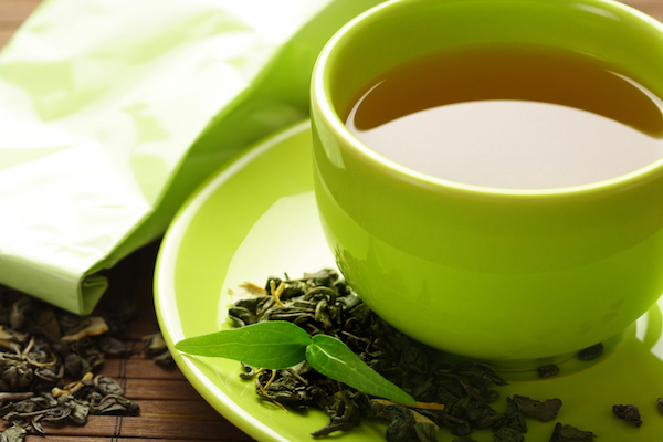 Green tea is full of anti-oxidants, doesn't dehydrate, and tastes good too.