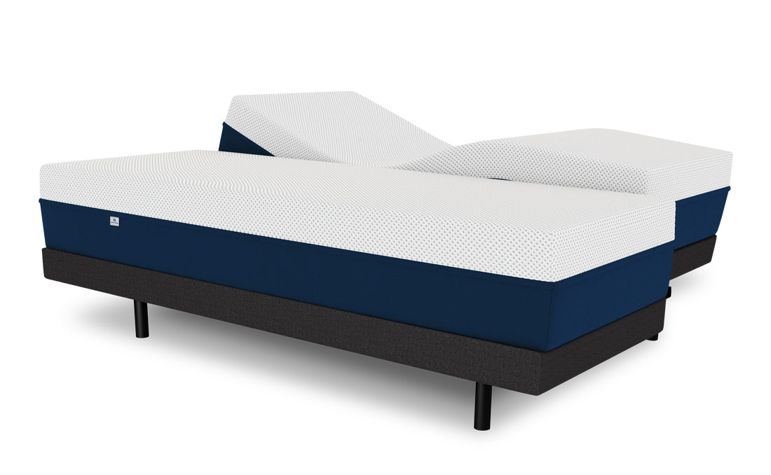 A split Revere Bed sitting atop the Ergo Invincible adjustable bed